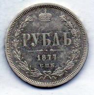 RUSSIA, 1 Ruble, Silver, Year 1877-CΠB-HI, KM #Y25 - Rusland