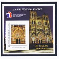 VaI002 FFAP N° 7 AMIENS 2013 Graveur PERCHAT Bloc Feuillet 86ème Congrès Cathédrale Portail BEAU-DIEU Passion Du Timbre - FFAP