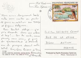 Polynésie Yvert 520 Artiste Peintre Becaud Puna Tahiti 1/4/1997 Carte Postale à Autun Saône Et Loire - Frans-Polynesië