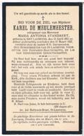 Dp. Oud-Burgemeester. De Meulemeester Karel. Echtg. Standaert Maria. ° Sint-Laureyns 1851 † Sint-Laureyns 1927 - Religion &  Esoterik