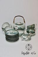 Fine China Porcelain Set With Lithophanie Of A Geisha - Mid XXth Japan - Arte Asiatica