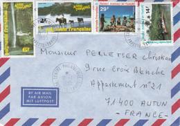 Polynésie Bel Affranchissement Mixte Papeete 10/1/1995 Lettre à Autun Saône Et Loire - Frans-Polynesië
