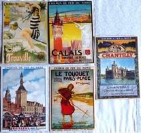 Lot De 5 CPM Publicitaires  CHEMIN De FER Du NORD : Le Touquet, Bailleul, Chantilly, Calais, Trouville. - Ferrovie