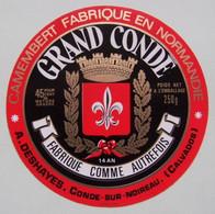 Etiquette Camembert - Grand Condé - Fromagerie A. Deshayes à Condé-sur-Noireau 14AN Normandie - Calvados   A Voir ! - Quesos