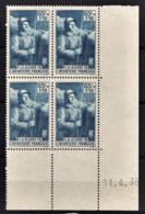 FRANCE 1938 - BLOC DE 4 TP NEUF** Y.T. N° 387 - COIN DE FEUILLE / DATE - 1930-1939