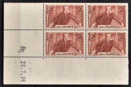 FRANCE 1936 - BLOC DE 4 TP NEUF** Y.T. N° 318 - COIN DE FEUILLE / DATE - 1930-1939