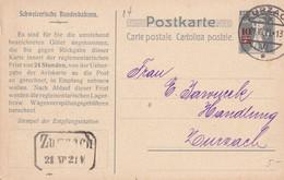 SUISSE  1921   ENTIER POSTAL/GANZSACHE/POSTAL STATIONARY CARTE DE ZURZACH - Stamped Stationery