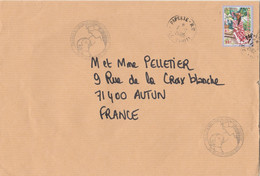 Polynésie Yvert 740 Vahiné Tableau Cachet Illustré + Papeete 7/10/2005 Lettre  à Autun Saône Et Loire - Frans-Polynesië