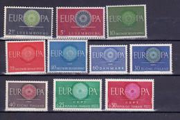10 Postfrisse CEPT  EUROPA-zegels 1960 - Europa-CEPT