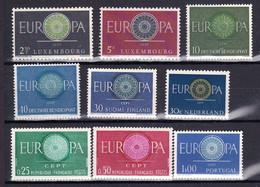 9 Postfrisse CEPT  EUROPA-zegels 1960 - Europa-CEPT