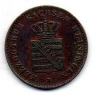 GERMAN STATES - SAXE-MEININGEN, 2 Pfennig, Copper, Year 1867, KM #174 - Kleine Munten & Andere Onderverdelingen