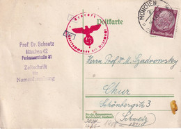 ALLEMAGNE 1941  ENTIER POSTAL/GANZSACHE/POSTAL STATIONARY CARTE CENSUREE DE MÜNCHEN POUR CHUR - Allemagne