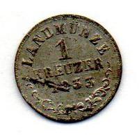 GERMAN STATES - SAXE-MEININGEN, 1 Kreuzer, Silver, Year 1833-L, KM #132 - Kleine Munten & Andere Onderverdelingen