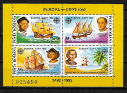 RUMANIA EUROPA CEPT 1992 , YVERT BF 220, MICHEL BL 271 MNH**. COLUMBUS, SHIP - Europa-CEPT