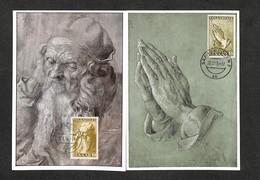 SARRE - SARR - SAARBRUCKEN - 2 Cartes Maximum 1955 - 1956 - Albrecht DÜRER - Alter Mann - Betende Hände - Cartoline Maximum