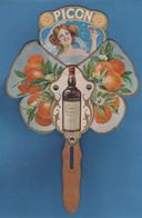 Superbe Et Rare Eventail Publicitaire Amer Picon Illustration Style Mucha Ouverture Par Glissière Décor Oranges Femme - Unclassified