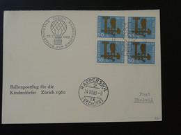 Bloc De 4 Chouette Owl Sur Carte SOS Kinderdorf Vol Ballon Montgolfière Pro Patria 1960 Suisse (ref 95506) - Briefe U. Dokumente