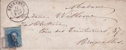 Belgique - COB 15 Sur Pli De Eeckeren à Bruxelles - Voir Desc. - 1864 - Belgium
