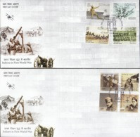 INDIA, 2019 Set Of 4 FDCs, Contribution Of India  In First World War1914-18, Complete Set Of 15 On 4 FDCs 2 SCANS - FDC