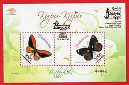 Indonesia 2007, SS Butterflies. OVPT Filex 2007 5000rp On 2500rp. MNH - Mariposas