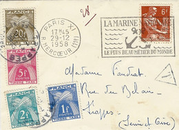 1958- Petite Enveloppe Affr. 6 F TAXEE  à 28 F - Marcofilia (sobres)