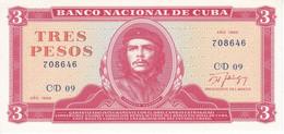 BILLETE DE CUBA DE 3 PESOS DEL AÑO 1988 DEL CHE GUEVARA (BANKNOTE) SIN CIRCULAR-UNCIRCULATED - Cuba