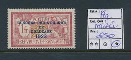 FRANCE YVERT 182 LH THIN CHARNIERE PETIT AMINCI AU NIVEAU DE LA CHARNIERE - 1900-27 Merson