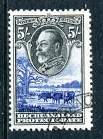 Bechuanaland Protectorate 1932 KGV Baobab Tree & Cattle - 5/- Black & Ultramarine Used (SG 109) - Bechuanaland (...-1966)