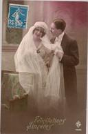 1921 * SUPERBE CARTE DE FELICITATIONS A L'OCCASION D'UN MARIAGE *  COLORISEE  * - Marriages