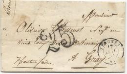 LETTRE 1851 AVEC CACHET TYPE 15 DE SENONES (82) ET CACHET TAXE 25  TAMPON DOUBLE TRAIT - 1849-1876: Klassik