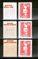 3 N° 2719a** N° Rouge_3 Gommes_Blanche Mate_Blanche Brillante_Jaune Brillante_(V766) - 1989-96 Maríanne Du Bicentenaire