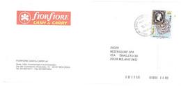 2001 £800 €0,41 REGNO DI SARDEGNA BUSTA FIORFIORE CASH & CARRY BOLOGNA ANN. AG.DI BASE CALDERARA - Briefmarken Auf Briefmarken