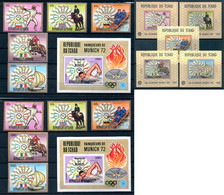 1972 Chad 18, Olympic Games, 5 PERF+5 IMPERF Stamps+2 Blocks+5 DELUXE Sheets Michel #641-645A,B, Blocks #57A,B, A56-F56 - Zomer 1972: München