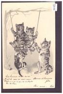 CHATS EN BALANCOIRE - CARTE EN RELIEF - PRÄGE KARTE - TB - Cats