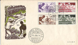Env. GUINEA  ESPANOLA   SANTA  ISABEL  PRO  INDIGENAS  PRIMER DIA DE CIRCULATION  10 JUIN 1954 - Guinea Española