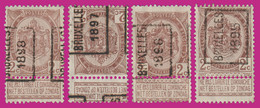 "4 COB N° 57 - PRE ""BRUXELLES"" - 1895;1896;1897;1898 (Voir Scan - Zie Scan) - Precancels"