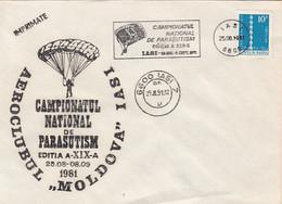 90537- NATIONAL CHAMPIONSHIP, PARACHUTTING, SPORTS, SPECIAL COVER, 1981, ROMANIA - Fallschirmspringen