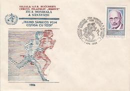 90580- WORLD HEALTH DAY, HEALTH, SPECIAL COVER, 1986, ROMANIA - Health