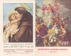 Calendarietto Tascabile Orfanotrofio Antoniano Maschile - Trani - Anno 1961 - Calendari