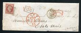 Rare Lettre D'Elbeuf Pour La Nouvelle Orléans ( 1860 ) Avec Un N° 17A - Cachet PC 1172 - 1853-1860 Napoleon III