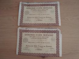 LOT DE 2 ACTIONS DE 500 FRANCS ENTREPRISE EUGENE DESPAGNAT 1930 - Shareholdings