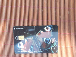 Phonecard Buterfly Cuba  Only 30.000 EX Made Used Rare - Cuba