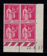 Coin Daté - YV 369 N** Type Paix Du 25.9.37 - 1930-1939