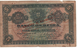 MOZAMBIQUE  5 Libras Esterlinas  PR21  Dated 15.9.1919 - Mozambique