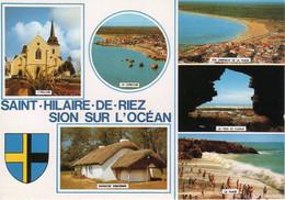 SAINT HILAIRE DE RIEZ (85) LA PLAGE ANIMÉE, LA CORNICHE, VUE GÉNÉRALE, BLASON - Saint Hilaire De Riez