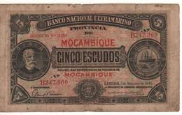 MOZAMBIQUE  5 Escudos  P83  Dated 1.9.1941  ( Francisco De Oliveira Chamico) - Mozambique