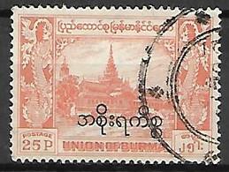 BIRMANIE   -  Service   - 1954 .  Y&T N° 32 Oblitéré. - Myanmar (Burma 1948-...)