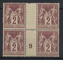JOLI BLOC De 4 TIMBRES TYPE SAGE N° 85 NEUF ** GOMME D'ORIGINE Avec MILLESIME 9 (1899) - 1876-1898 Sage (Type II)