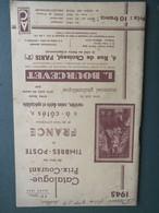 CATALOGUE COTATION TIMBRES BOURCEVET Paris 1945 58 PAGES - France