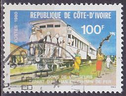 Timbre Oblitéré N° 542(Yvert) Côte D'Ivoire 1980 - Rail, Wagons De Voyageurs En 1908 - Costa D'Avorio (1960-...)